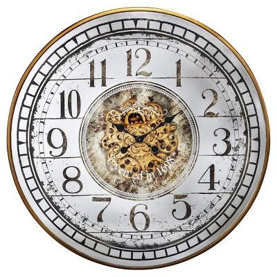 "36"" Round Wall Clock White Brass - A&B Home"