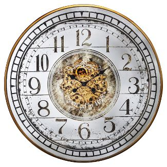 "36"" Round Wall Clock White/Brass - A&B Home"