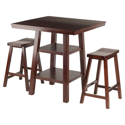 3 Piece Orlando Set 2 Shelves High Table with Counter Stools Saddle Seat Wood/Walnut - Winsome - image 1 of 4
