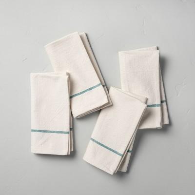 4pc Single Border Stripe Napkin Set Teal - Hearth & Hand™ with Magnolia