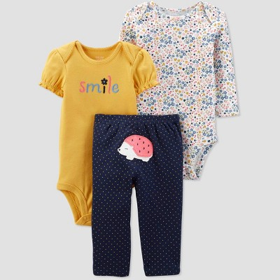 Baby Girls' Hedgehog Top & Bottom Set - Just One You® made by carter's Yellow 6M