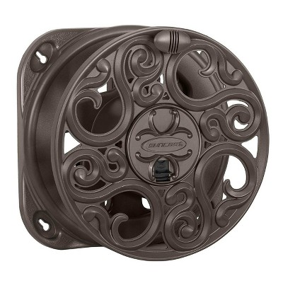 Suncast Sidewinder 60 Foot Side Scroll Decorative Wall Mount Hose Reel, Bronze