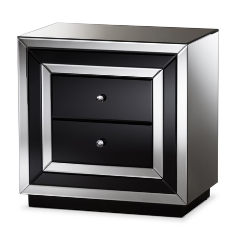 Cecilia Hollywood Regency Glamour Style Mirrored 2 Drawer Nightstand Baxton Studio