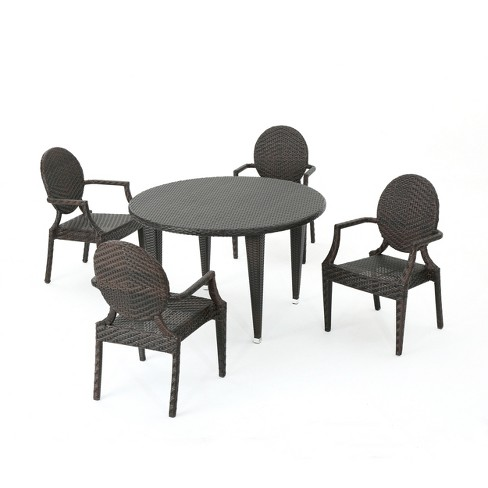 Brooks 5pc Wicker Dining Set - Brown - Christopher Knight Home - image 1 of 4