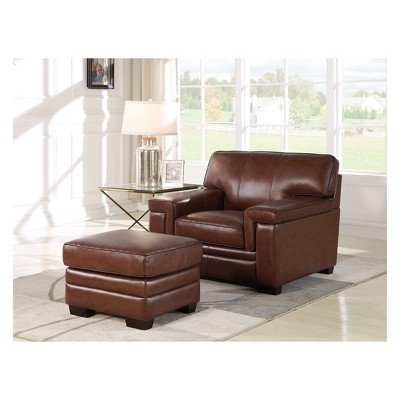 Attirant Evan Top Grain Leather Chair And Ottoman Brown   Abbyson Living : Target