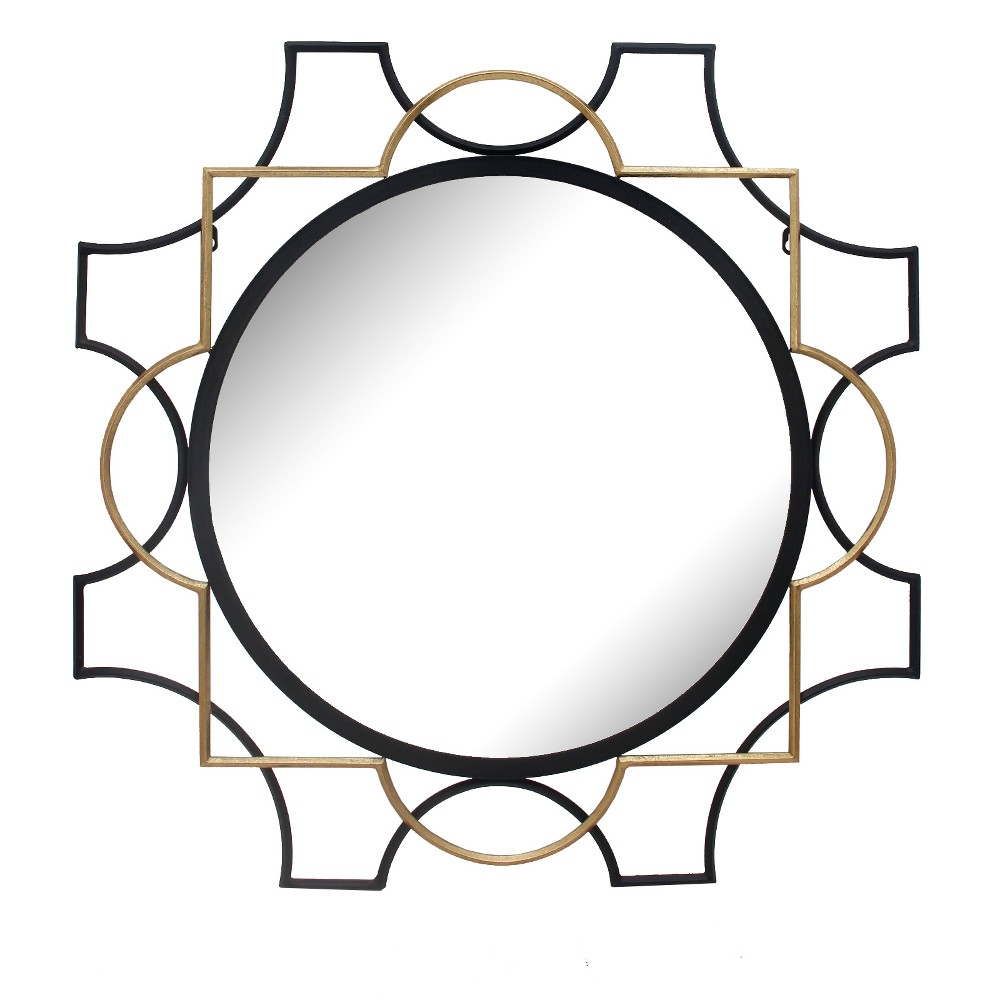 "Image of ""31.5""""x31.5"""" Round Decorative Wall Mirror Gold/Black - Home Source, Gold Black"""