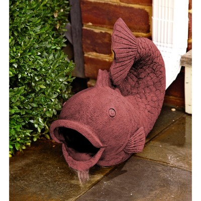 Wind & Weather Terra Cotta Colored Fish Decorative Downspout - Terra Cotta