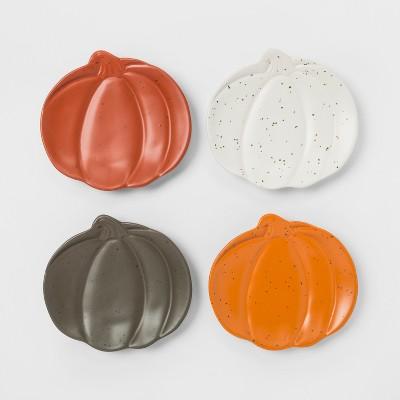 6.9  x 6.3  4pk Stoneware Pumpkin Appetizer Plates - Threshold™