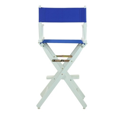 Royal Blue Bar Height Director's Chair-White