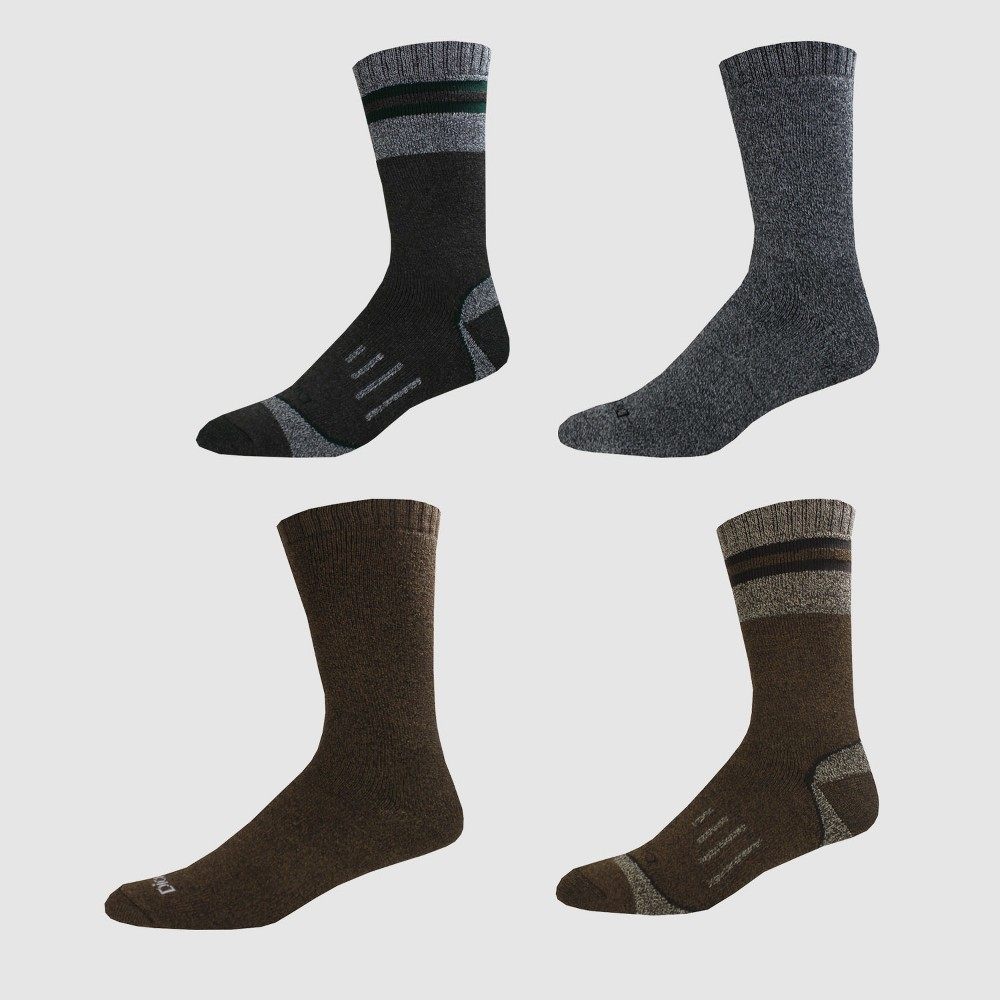 Dickies Men's Moisture Control Marled All Season 4pk Crew Socks - Gray 6-12, Multi-Colored