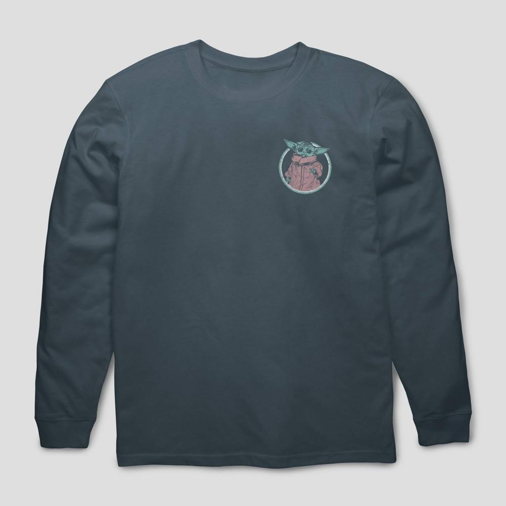 Men 39 S Star Wars The Mandalorian Schematic Long Sleeve Graphic Crewneck T Shirt Blue M