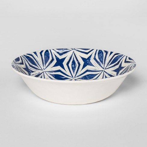 Plastic Geometric Cereal Bowl 25oz Blue/White - Threshold™ - image 1 of 2