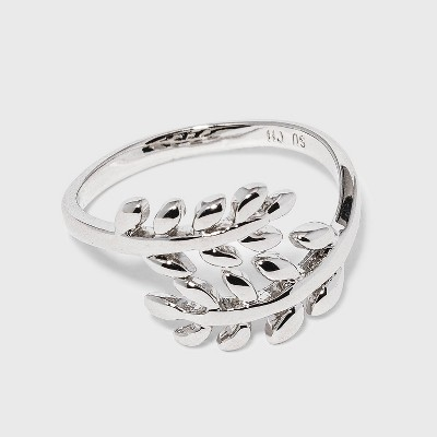 Women's Silver Plated Leaf Bypass Ring (7)