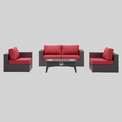 Convene 5 Piece Set Outdoor Patio with Fire Pit - Espresso Red - Modway