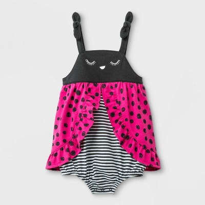 Baby Girls' Jersey Ladybug Romper - Cat & Jack™ Pink/Black Newborn