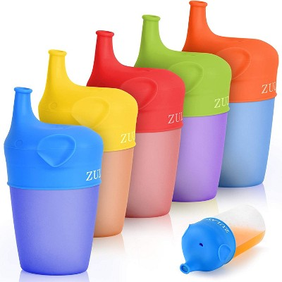 Zulay Silicone Sippy Cup Lids (5 Pack) - BPA Free & Food Grade Spill-Proof Silicone Sippy Cup Covers With Soft Spout - Stretchable Silicone Cup Lids For Toddlers, Infants, Babies