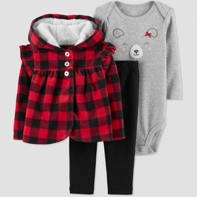 Baby Girls' 3pc Buffalo Plaid Cardigan Set - Just One You® made by carter's Red Newborn