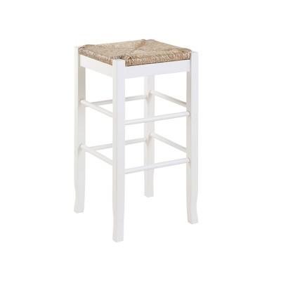 Rush Seat Hardwood Barstool White - Boraam