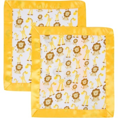 MiracleWare Muslin Security Blanket - Giraffe & Lions 2pk