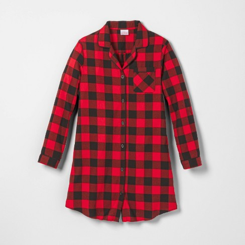 Women's Holiday Buffalo Check Flannel Matching Family Pajamas Nightgown - Wondershop™ Red - image 1 of 3