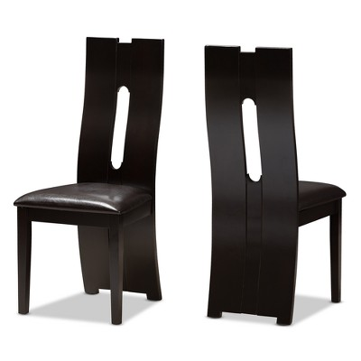 Set of 2 Alani Modern And Contemporary Faux Leather Upholstered Dining Chairs Dark Brown - Baxton Studio