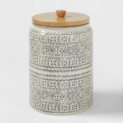 130oz Stoneware Genesis Stripe Food Storage Canister White/Gray - Threshold™