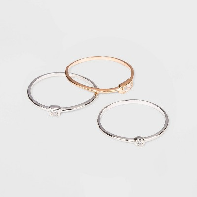 Sterling Silver with Cubic Zirconia Two-Tone Modern Multi Shape Stacking Ring Set 3pc - A New Day™