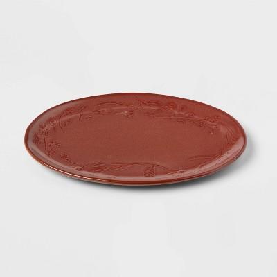 "8"" x 12"" Stoneware Floral Border Oval Serving Platter - Threshold™"