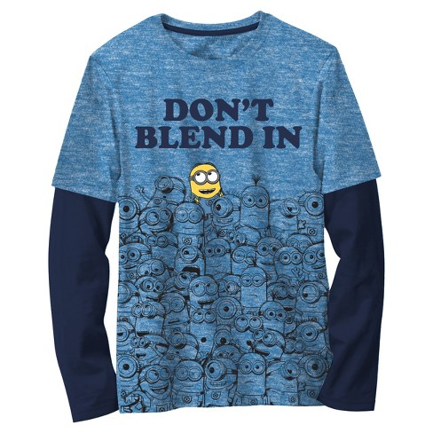 Boys  Minions Despicable Me Long Sleeve T-Shirt - Light Blue   Target fcb08923f89