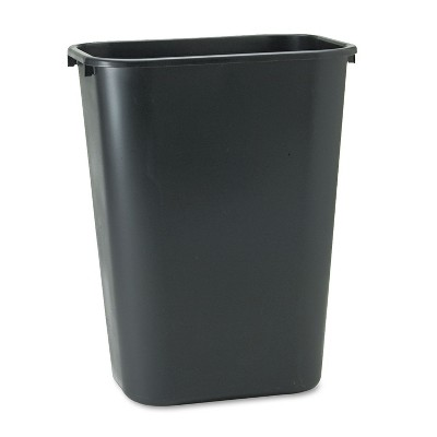 Rubbermaid Commercial Deskside Plastic Wastebasket Rectangular 10 1/4 gal Black 295700BK