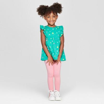 Toddler Girls' Floral Top and Bottom Set - Cat & Jack™ Green/Pink 2T