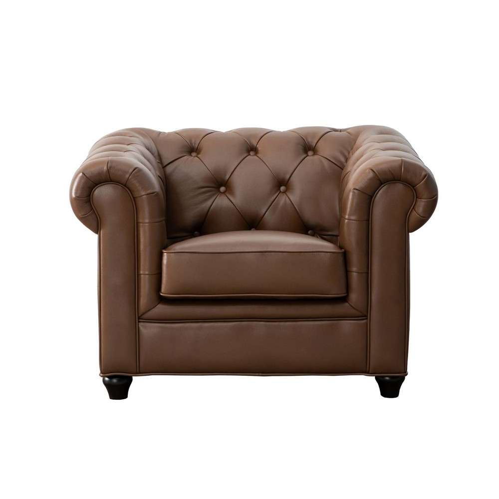 Lincoln Tufted Chesterfield Armchair Camel - Abbyson Living