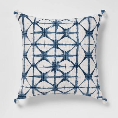 Shibori Printed Square Throw Pillow Blue - Opalhouse™