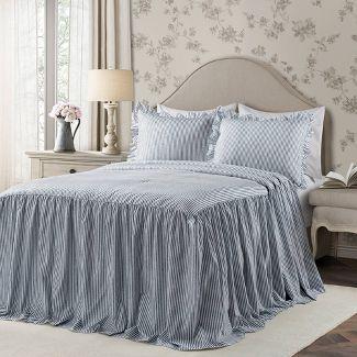King 3pc Ticking Stripe Bedspread Set Navy - Lush Décor