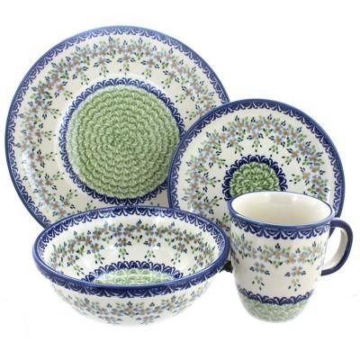 Blue Rose Polish Pottery Summer Vine 16 Piece Dinner Set