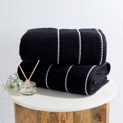 2pc Luxury Cotton Bath Towels Set Black - Yorkshire Home