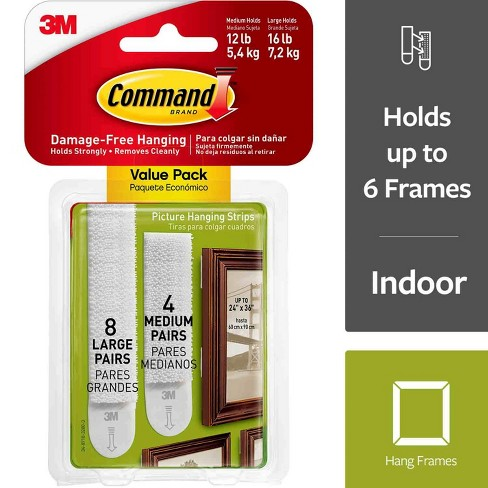 Command® Medium and Large Picture Hanging Strips 4 Medium/8 Large - image 1 of 14
