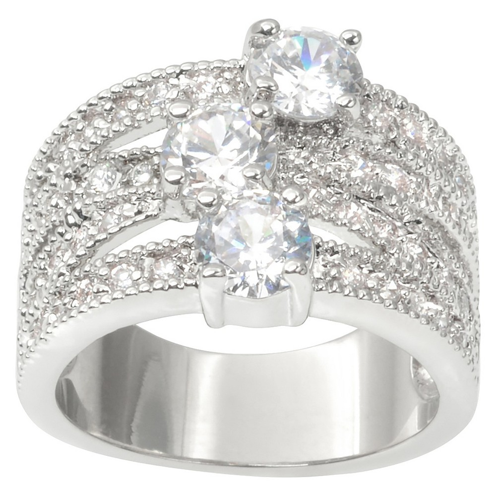 2 1/8 CT. T.W. Journee Collection Round Cut CZ Pave Set Split-Band Ring in Brass - Silver (7)
