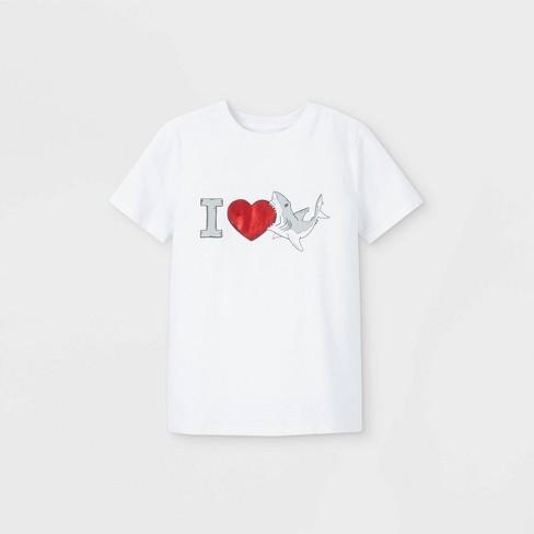 Boys' 'I Love Sharks' Graphic Short Sleeve T-Shirt - Cat & Jack™ White - image 1 of 2