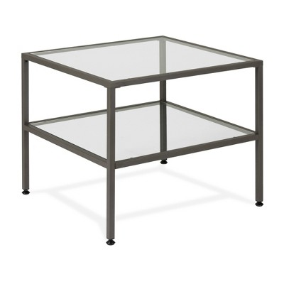 "Camber Modern Glass End Table 25"" - Studio Designs"