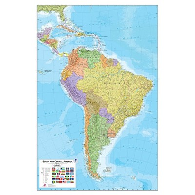 """Wall Pops!  Dry Erase Map Decal 24"""" x 36"""" - South America"""