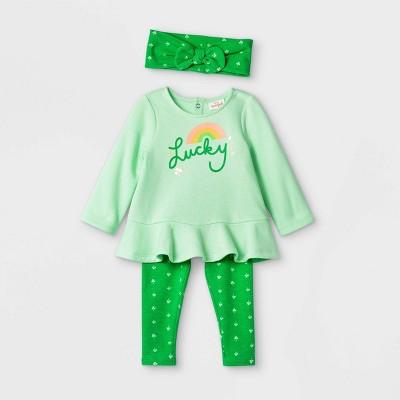 Baby Girls' St. Pat's 'Lucky' Long Sleeve Top & Bottom Set - Cat & Jack™ Green Newborn