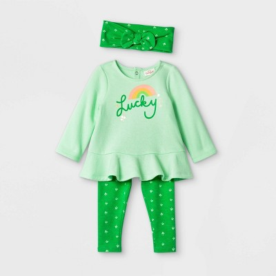 Baby Girls' St. Pat's 'Lucky' Long Sleeve Top & Bottom Set - Cat & Jack™ Green 0-3M