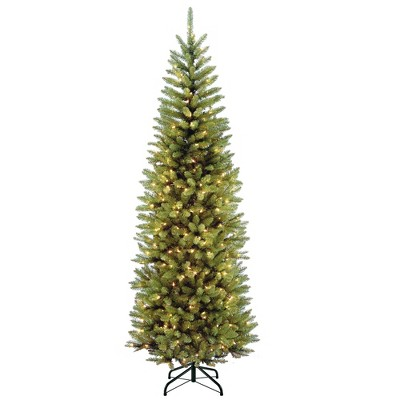 National Tree Company 7.5 Foot Kingswood Fir Pencil Artificial Christmas Tree with White Lights, Folding Metal Stand and Easy Assembly