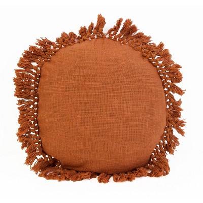 """18"""" Simone Cotton Fringe Trim Round Throw Pillow Burnt Orange - Décor Therapy"""