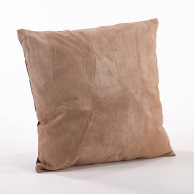 "16""x16"" Classic Leather Poly Filled Throw Pillow Camel - Saro Lifestyle"