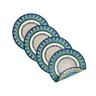 "Villeroy & Boch - Casale Blu Cotton Fabric Reversible Round Placemat Set of 4 - 15"" Round"