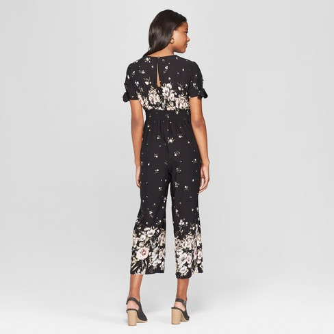 a4b2d0405fec Women s Floral Print Short Sleeve V-Neck Button Front Jumpsuit - Xhilaration™    Target