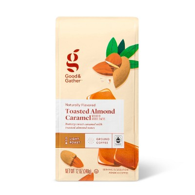 Naturally Flavored Toasted Almond Caramel Light Roast Ground Coffee - 12oz - Good & Gather™