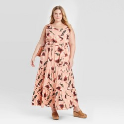 Women's Plus Size Floral Print Sleeveless Tiered Maxi Dress - Ava & Viv™ Coral